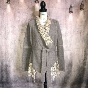 Hazel Anthropologie Lace Flyaway Cardigan S/M